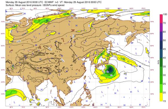 台風10号ヨーロッパ中期予報センター